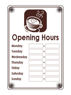 Cafe Open & Closed Business Hours Notice - FD165