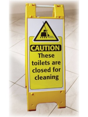Caution Toilets are Closed for Cleaning Heavy Duty Floor Stand - FL020