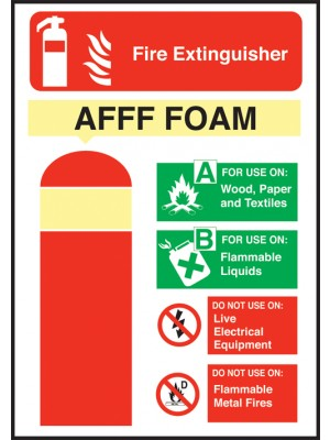 AFFF Fire Extinguisher Equipment Sign