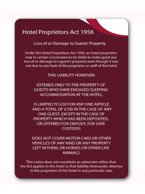 A4 Hotel Proprietors Act 1956 Guest Information Notice - GH021 - Multiple Colours