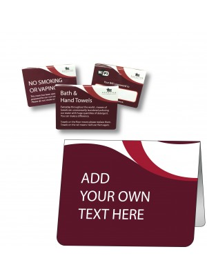 Custom Made Your Own Text Guest Information Tent Notices - GH028 - Multiple Colours