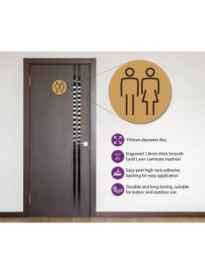 Ladies & Gents Toilet Door Symbol 150mm Gold