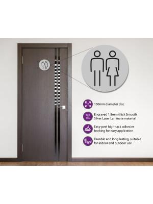 Ladies & Gents Toilet Door Symbol 150mm Silver
