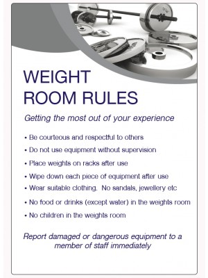 Weight Room Rules Notice - LP005