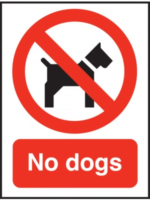 No Dogs Text and Symbol Sign
