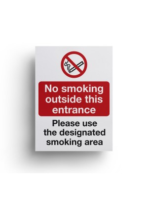 No Smoking Outside This Entrance / Designated Smoking Area Sign