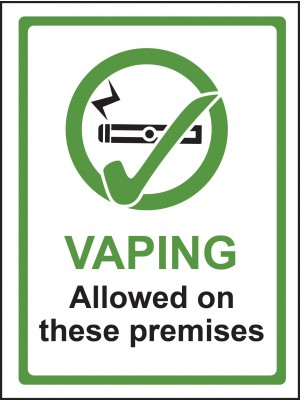 Vaping Allowed on These Premises Sign