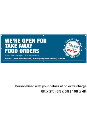 Were Open for Take Away food Orders Personalised PVC Banner - Blue