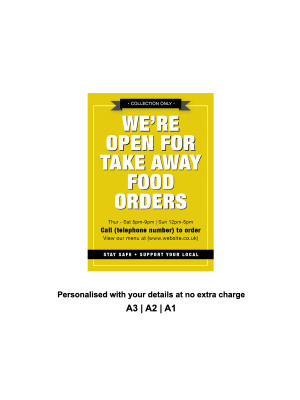 We are Open for Take Away food orders Personalised Anti-Tear Waterproof Poster - Yellow