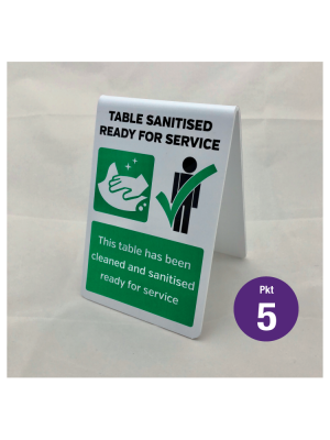 This table has now been sanitised tabletop hygiene tent notice. Pack of 5