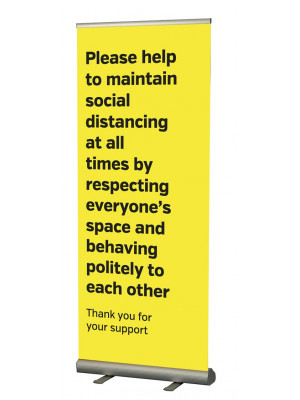 Please help maintain a safe social distance roller banner