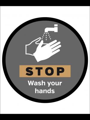 STOP wash your hands floor & wall vinyl graphic