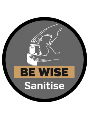 Be wise sanitise floor and wall graphic