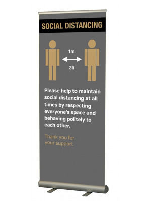 Please keep 1 metre / 3ft apart  social distancing roller banner