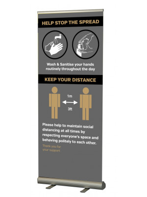 Help Stop the spread / keep your distance social distancing roller banner - SD240