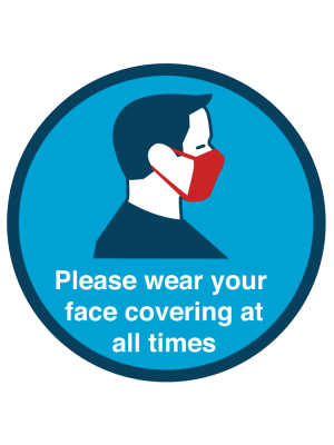 Please wear your face covering at all times floor and wall vinyl graphic