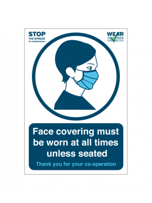 Please wear your face covering at all times unless seated notice