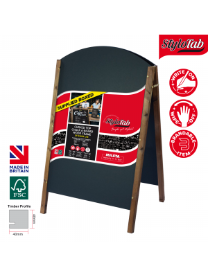 Curved Top Wood Frame Blackboard A Board