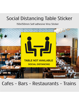 Social distancing table not available vinyl sticker.