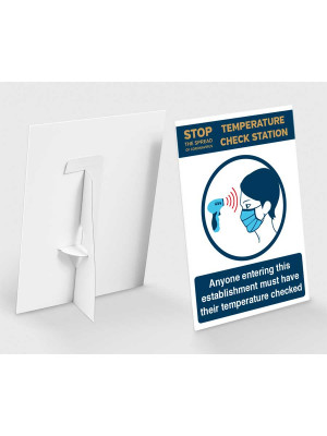 Temperature check station on entry countertop freestanding sign