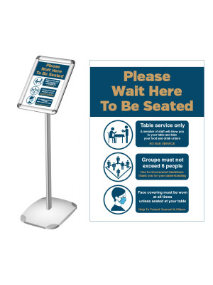 Please wait here to be seated Social Distancing freestanding poster / menu display
