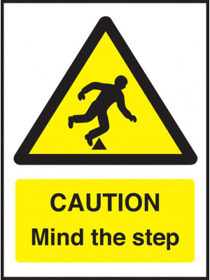 Caution Mind the Step hazard and warning safety sign
