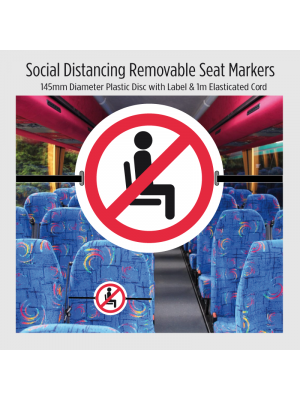 """120mm diameter """"Do not sit here"""" Removable seat marker with elasticated cord"""