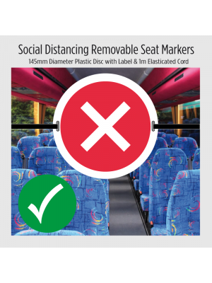 Social Distancing Removable seat marker with elasticated cord. 2 options available
