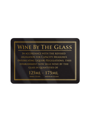 125 & 175ml Wine by the Glass Bar Notice - Frame Options