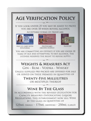 25ml 3 Part Age Verification Policy Notice - Frame Options