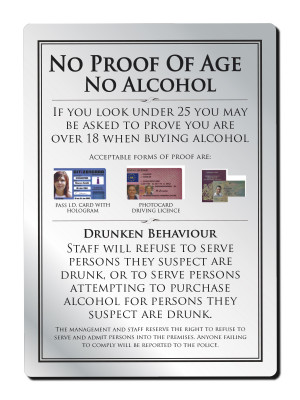 No Proof of Age No Alcohol Notice - Frame Options