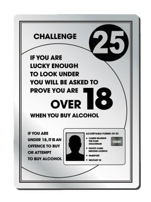 Challenge 25 Bar Licensing Notice - Frame Options