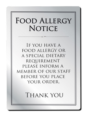 Food Allergy Notice - Frame Options