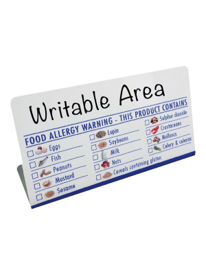 Food Allergy Allergen Checklist Tent Notice with Writable Area - BT024