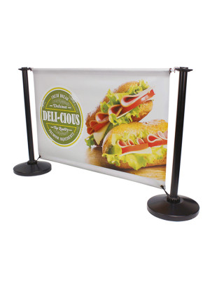 Single Sided Black Steel Cafe Barrier System - Full Set - Multiple Sizes
