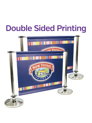 Double Sided Stainless Steel Cafe Barrier System - Full Set - Multiple Sizes