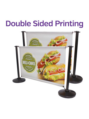 Double Sided Black Steel Cafe Barrier System - Full Set - Multiple Sizes