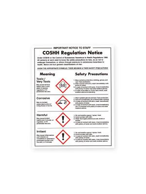 COSHH Regulations Notice - Material Options