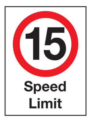15 MPH Speed Limit Exterior Notice - Mount Options Available