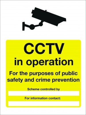 CCTV in Operation for the Purpose of Public Safety Sign - Multiple Sizes