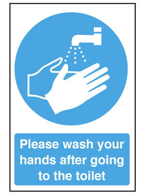 Please Wash Your Hands After Going to the Toilet Notice - CS084