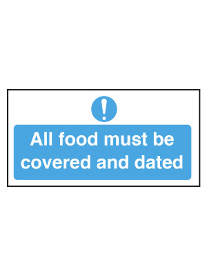 All Food Must Be Covered And Dated Notice - CS090