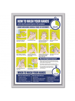 Framed How to wash your hands in the workplace poster