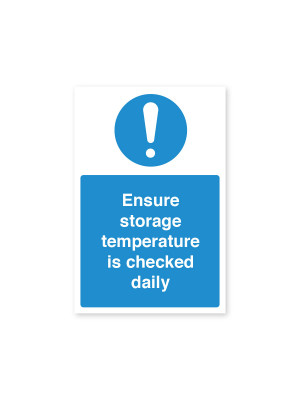 Ensure Storage Temperature Checked Daily - Food Storage Notice