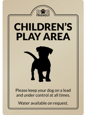 Dog Friendly Childrens Play Area - Exterior Sign
