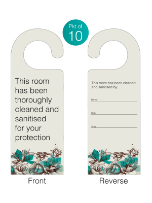 This room has been cleaned and sanitised for your protection door hangers. Pack of 10 - DH011