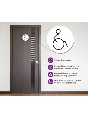 Disabled Toilet Door Symbol Right 150mm White