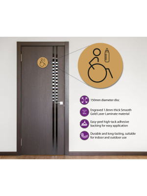 Disabled & Baby Change Toilet Door Symbol Right 150mm Gold