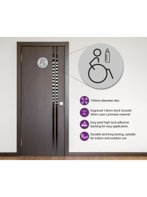 Disabled & Baby Change Toilet Door Symbol Right 150mm Silver
