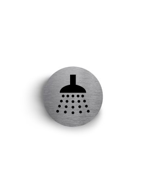 DS009 - Shower Symbol 75mm Diameter Stainless Steel Disc